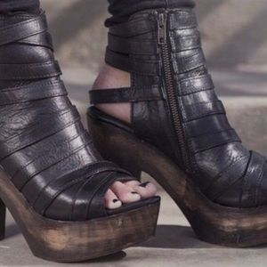 Freebird Chile Leather Caged Strappy Heels Booties